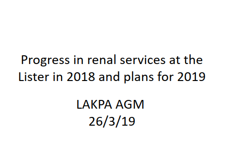 Progress in renal services at Lister Hospital